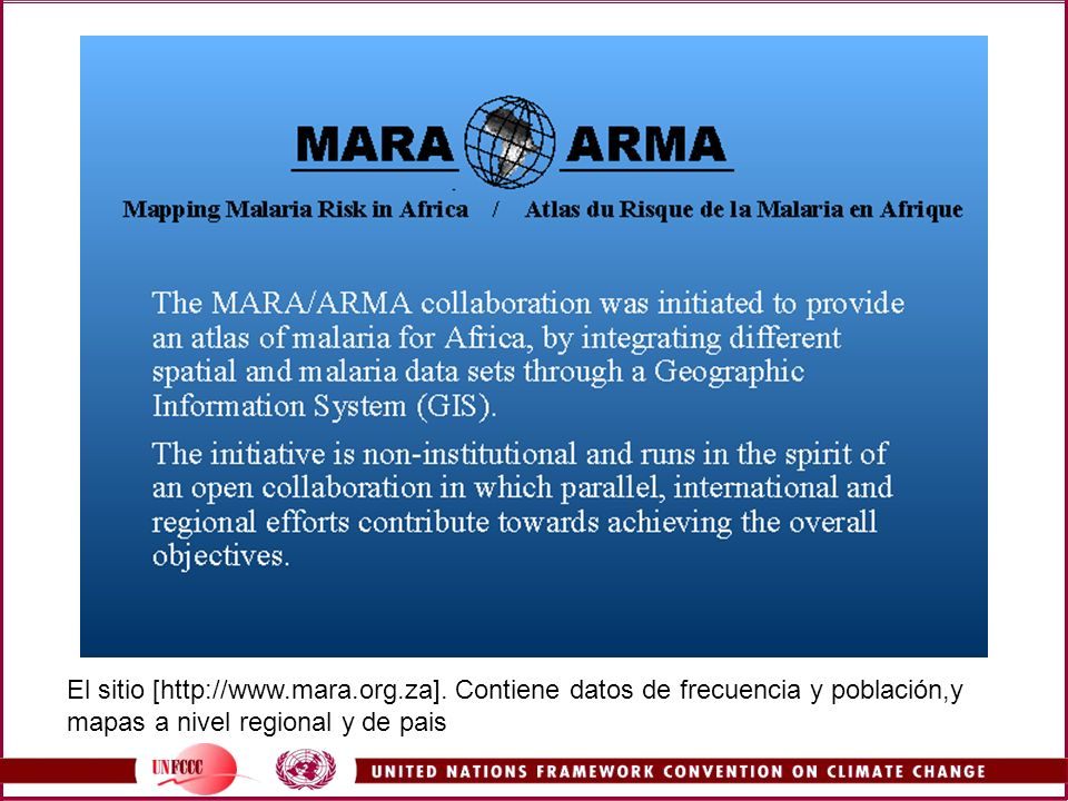 MARA/ARMA was a large project designed to map malaria risk in Africa