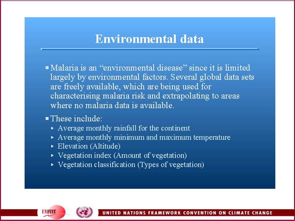 MARA/ARMA analyzed the listed environmental data in relation to malaria prevalence.