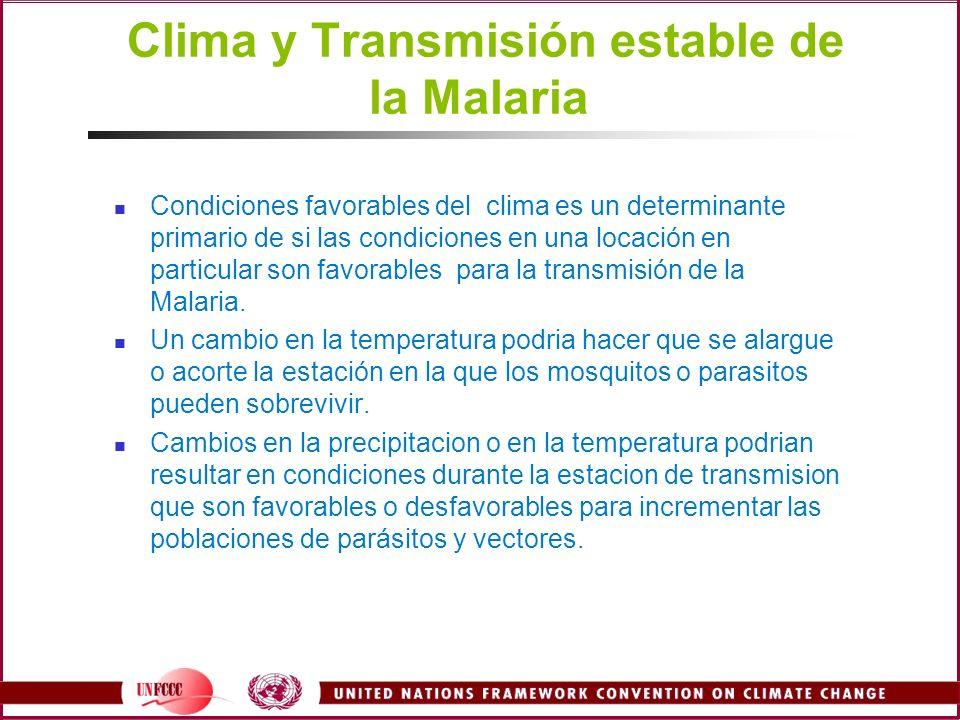 Clima y Transmisión estable de la Malaria