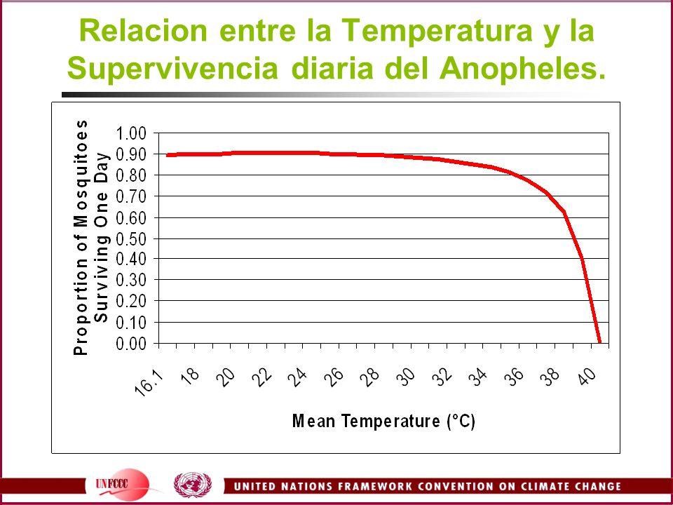 Relacion entre la Temperatura y la Supervivencia diaria del Anopheles.
