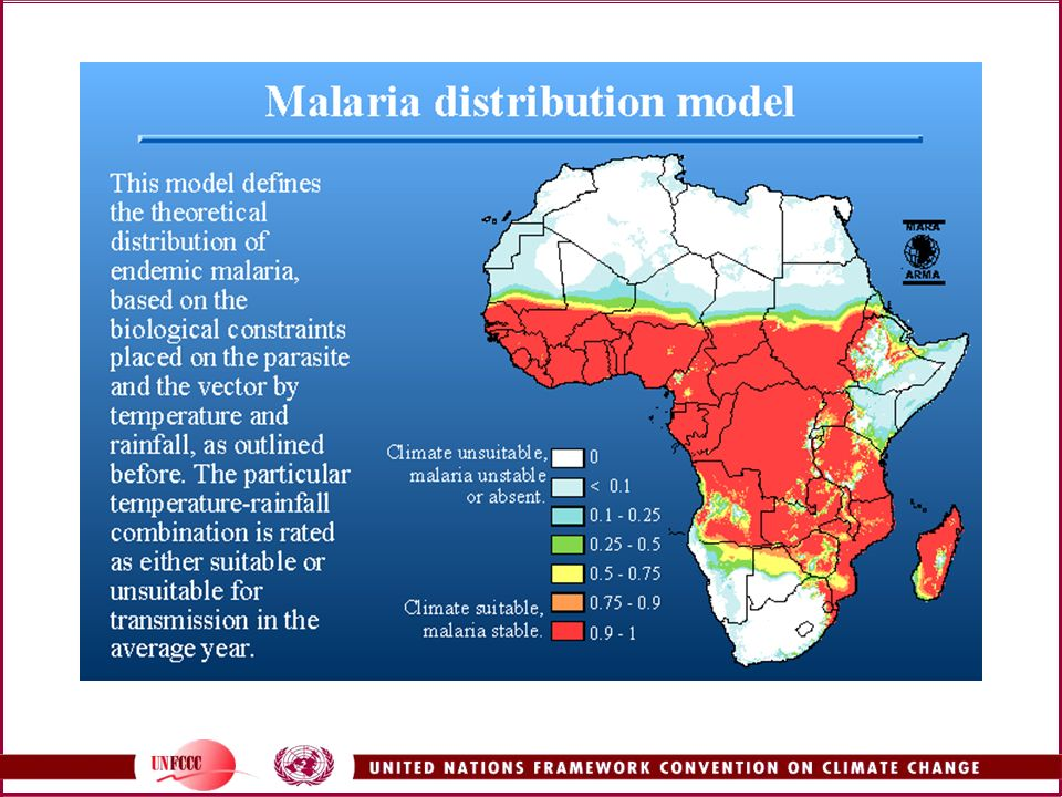 This map, from the MARA/ARMA website, shows the distribution of endemic malaria in Africa (endemic means that malaria is always present, although not necessarily for all months of the year).