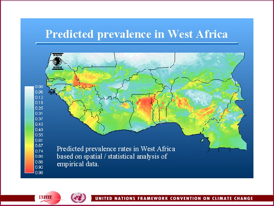 From the MARA/ARMA website, this shows the predicted prevalence rates of malaria in West Africa.