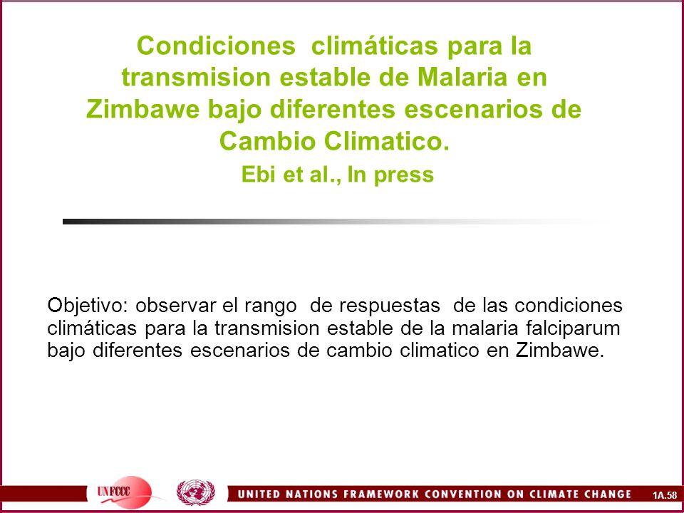 Condiciones climáticas para la transmision estable de Malaria en Zimbawe bajo diferentes escenarios de Cambio Climatico. Ebi et al., In press