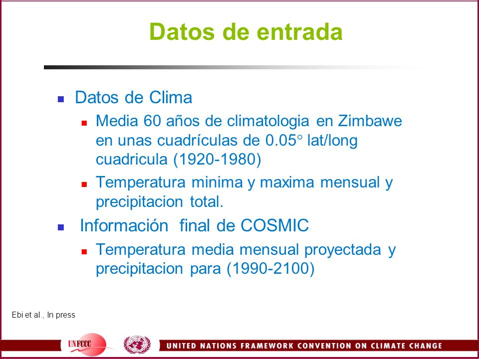 Datos de entrada Datos de Clima Información final de COSMIC