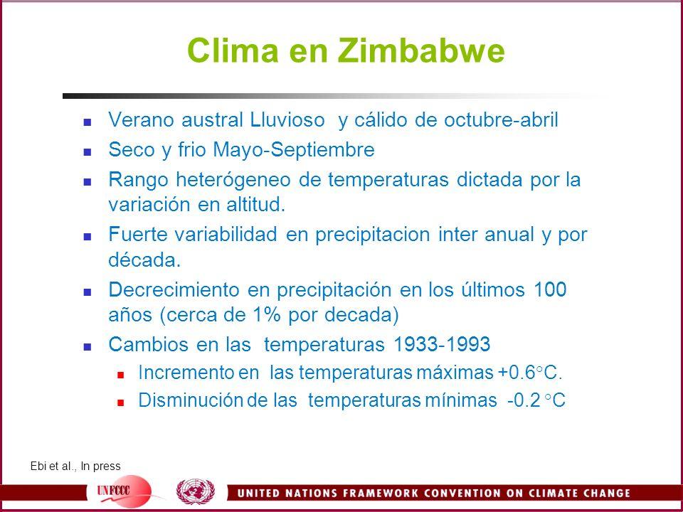 Clima en Zimbabwe Verano austral Lluvioso y cálido de octubre-abril