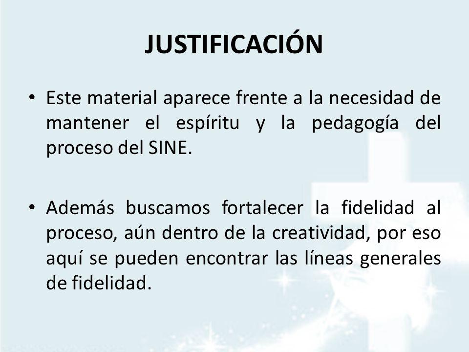 JUSTIFICACIÓN Este material aparece frente a la necesidad de mantener el espíritu y la pedagogía del proceso del SINE.