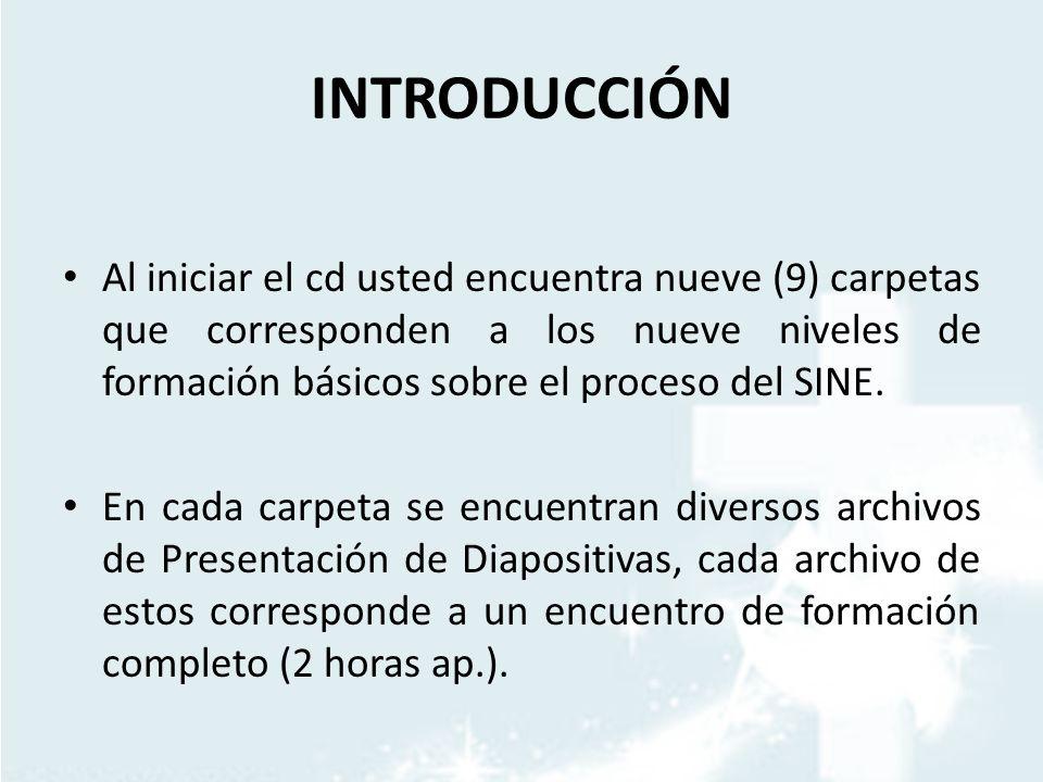 INTRODUCCIÓN Al iniciar el cd usted encuentra nueve (9) carpetas que corresponden a los nueve niveles de formación básicos sobre el proceso del SINE.