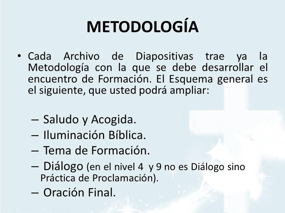 METODOLOGÍA Saludo y Acogida. Iluminación Bíblica. Tema de Formación.