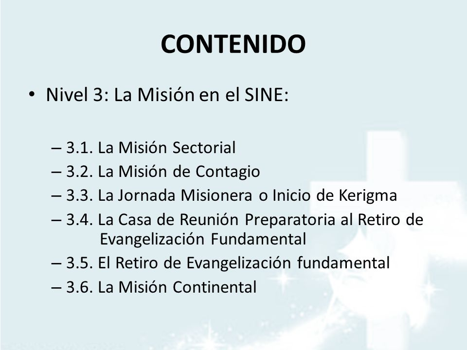 CONTENIDO Nivel 3: La Misión en el SINE: 3.1. La Misión Sectorial