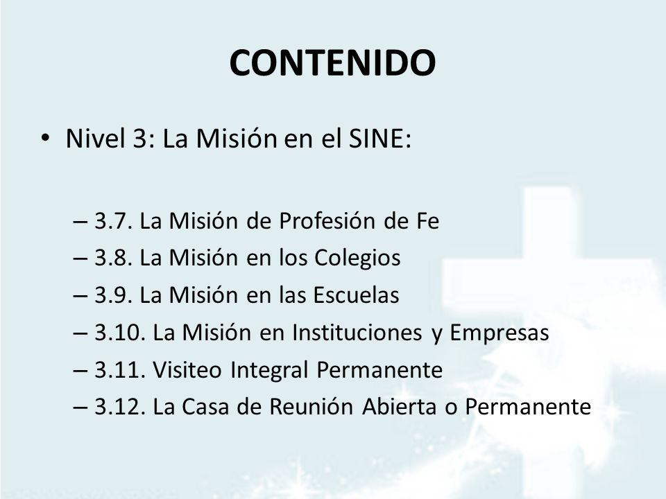 CONTENIDO Nivel 3: La Misión en el SINE: