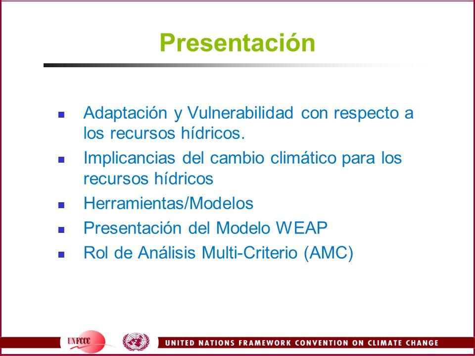 Presentación Adaptación y Vulnerabilidad con respecto a los recursos hídricos. Implicancias del cambio climático para los recursos hídricos.