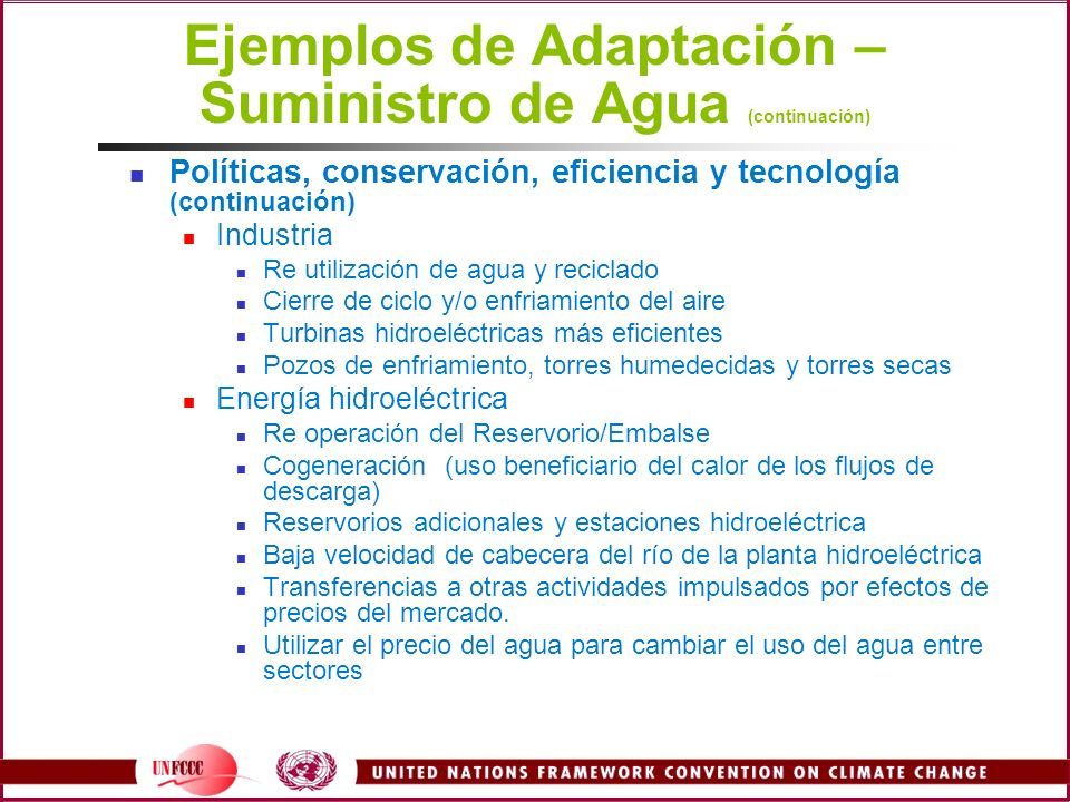 Ejemplos de Adaptación – Suministro de Agua (continuación)