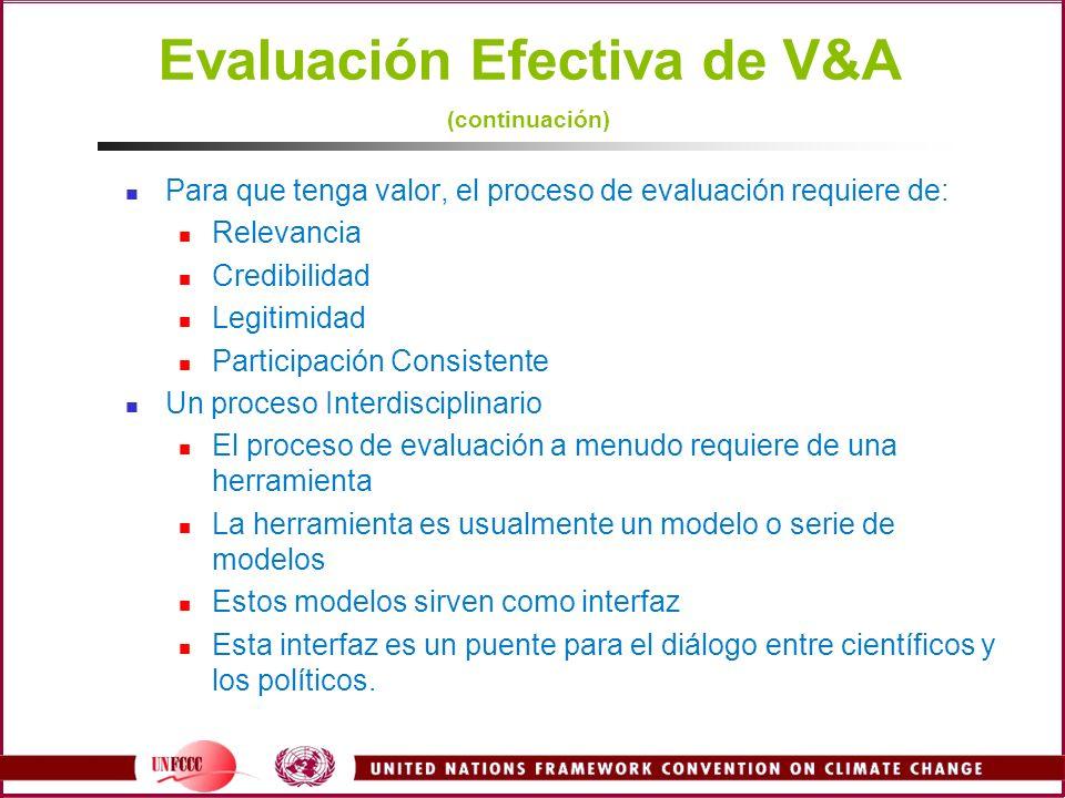 Evaluación Efectiva de V&A (continuación)