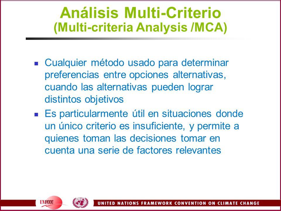 Análisis Multi-Criterio (Multi-criteria Analysis /MCA)