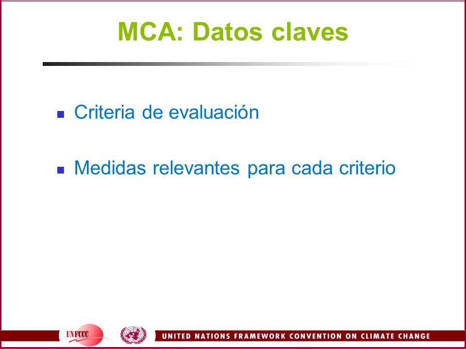 MCA: Datos claves Criteria de evaluación