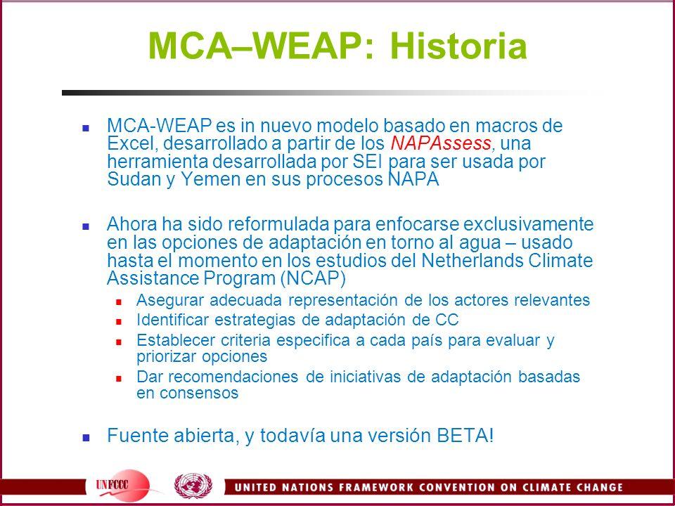 MCA–WEAP: Historia Fuente abierta, y todavía una versión BETA!