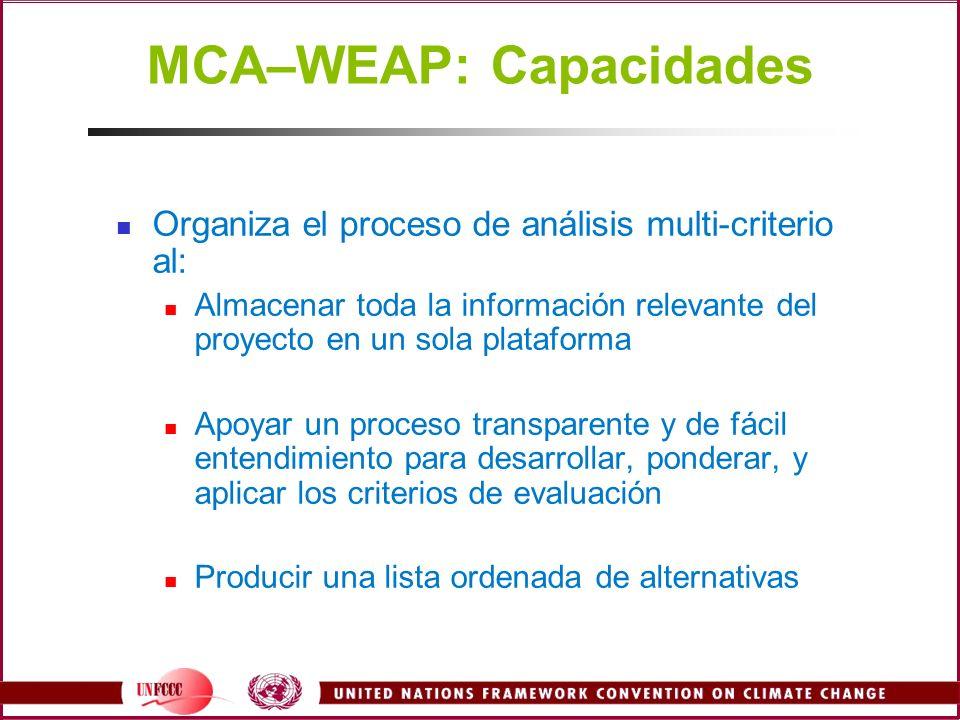 MCA–WEAP: Capacidades