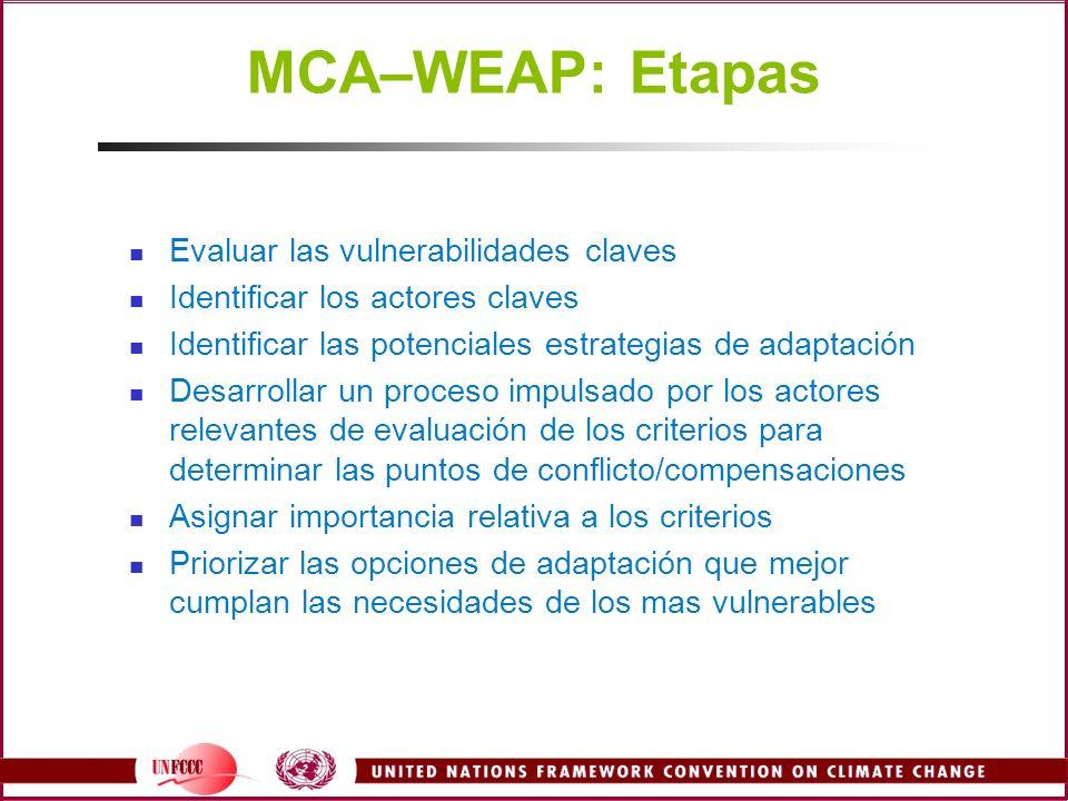 MCA–WEAP: Etapas Evaluar las vulnerabilidades claves