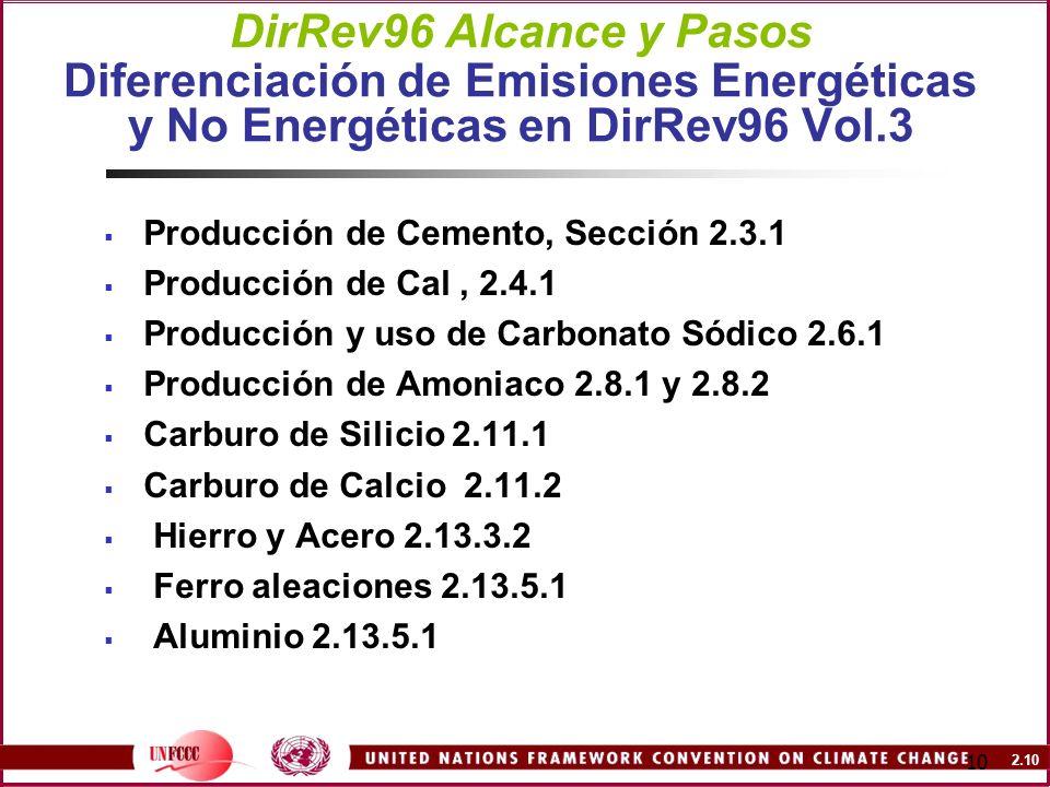 DirRev96 Alcance y Pasos Diferenciación de Emisiones Energéticas y No Energéticas en DirRev96 Vol.3
