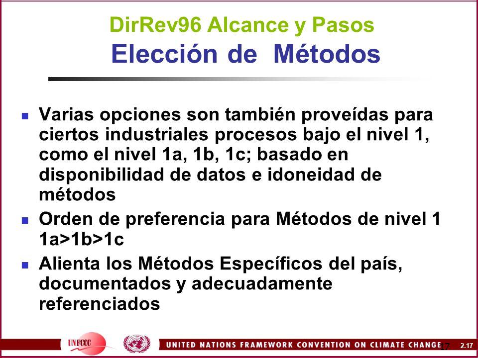 DirRev96 Alcance y Pasos Elección de Métodos
