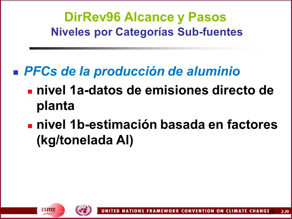 DirRev96 Alcance y Pasos Niveles por Categorías Sub-fuentes