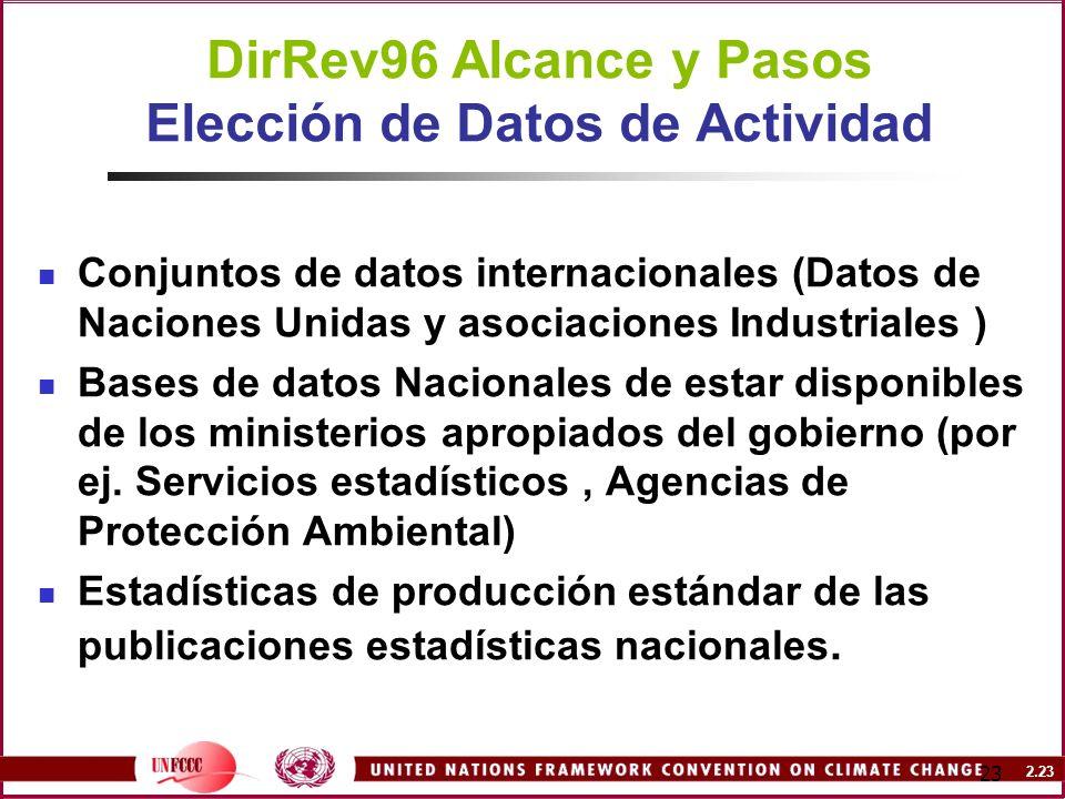 DirRev96 Alcance y Pasos Elección de Datos de Actividad