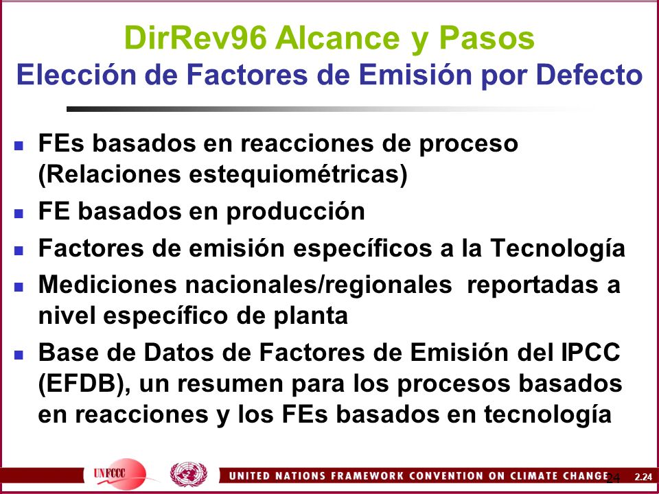 DirRev96 Alcance y Pasos Elección de Factores de Emisión por Defecto