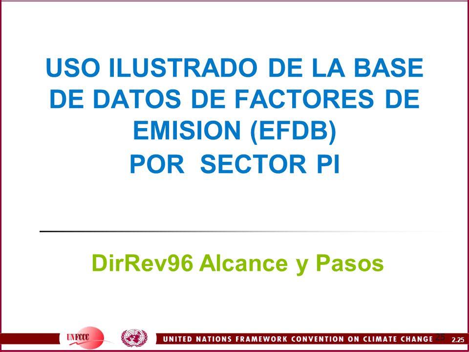 USO ILUSTRADO DE LA BASE DE DATOS DE FACTORES DE EMISION (EFDB) POR SECTOR PI