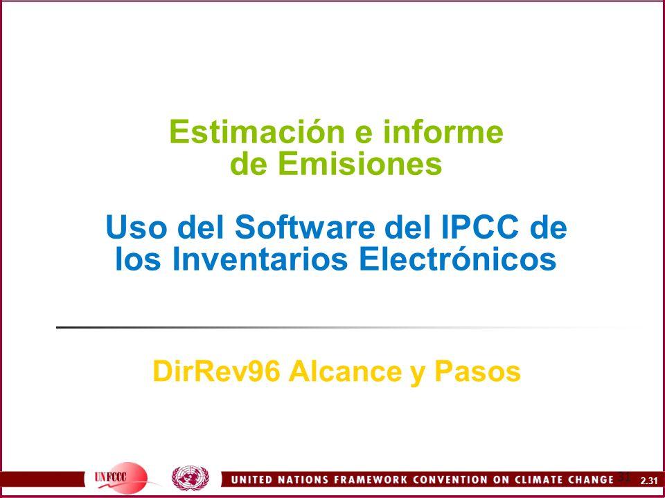 Estimación e informe de Emisiones Uso del Software del IPCC de los Inventarios Electrónicos