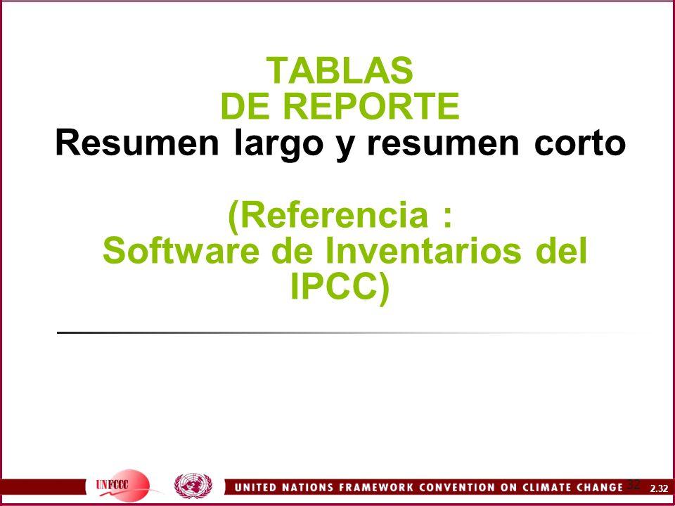 TABLAS DE REPORTE Resumen largo y resumen corto (Referencia : Software de Inventarios del IPCC)