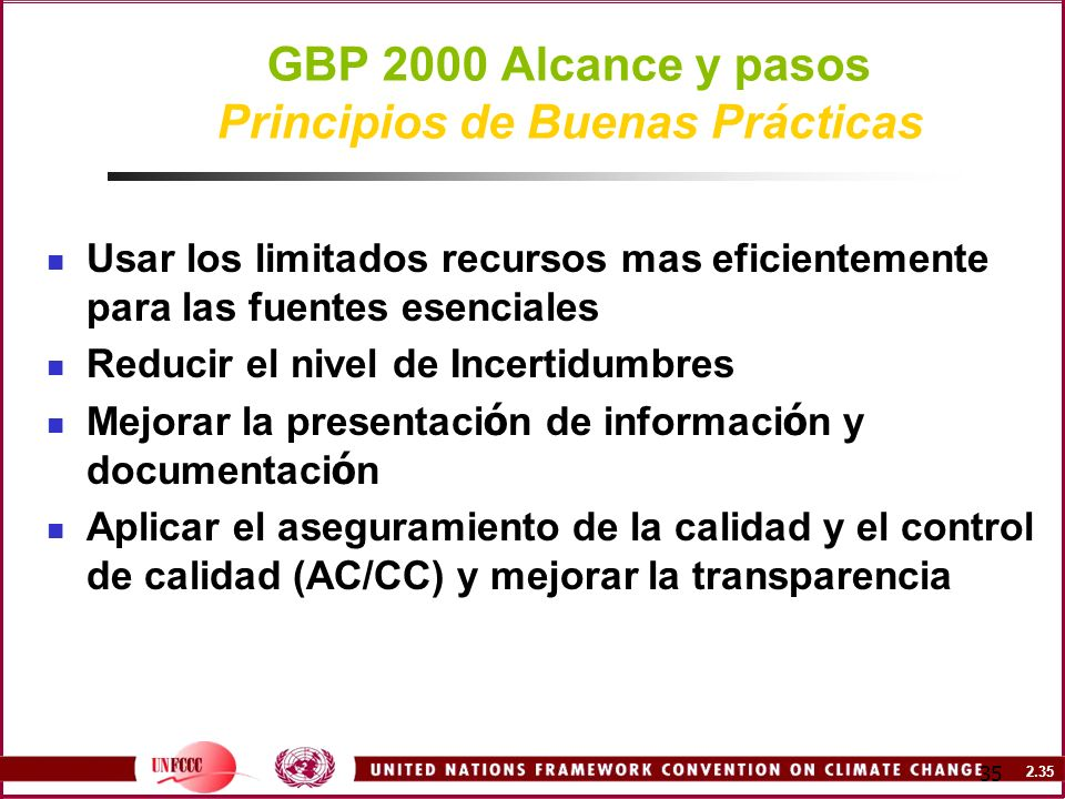 GBP 2000 Alcance y pasos Principios de Buenas Prácticas