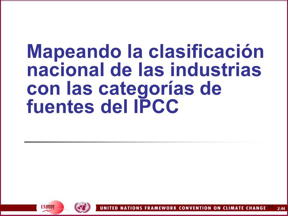 Mapeando la clasificación nacional de las industrias con las categorías de fuentes del IPCC