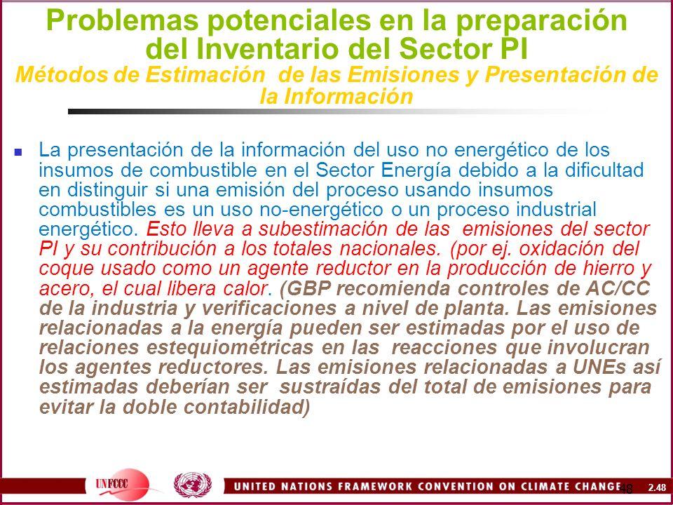 Problemas potenciales en la preparación del Inventario del Sector PI Métodos de Estimación de las Emisiones y Presentación de la Información