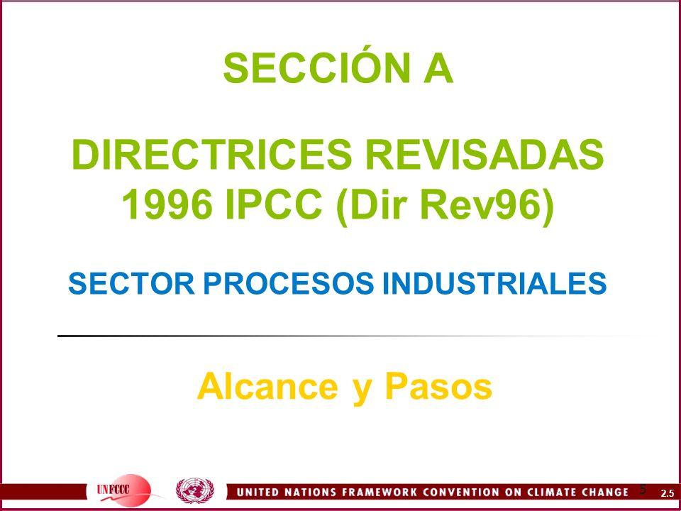 SECCIÓN A DIRECTRICES REVISADAS 1996 IPCC (Dir Rev96) SECTOR PROCESOS INDUSTRIALES