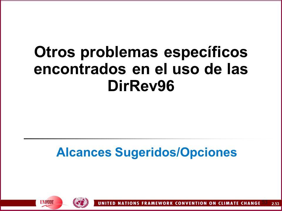 Otros problemas específicos encontrados en el uso de las DirRev96