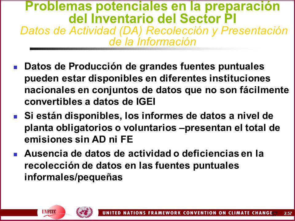 Problemas potenciales en la preparación del Inventario del Sector PI Datos de Actividad (DA) Recolección y Presentación de la Información