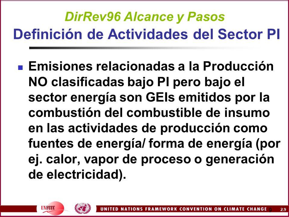 DirRev96 Alcance y Pasos Definición de Actividades del Sector PI