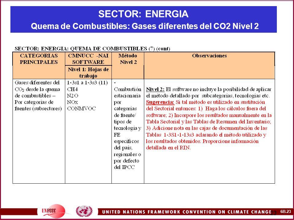 SECTOR: ENERGIA Quema de Combustibles: Gases diferentes del CO2 Nivel 2