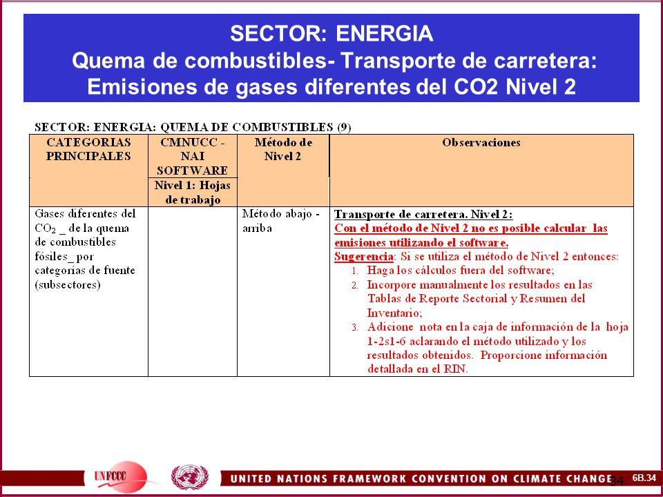 SECTOR: ENERGIA Quema de combustibles- Transporte de carretera: Emisiones de gases diferentes del CO2 Nivel 2