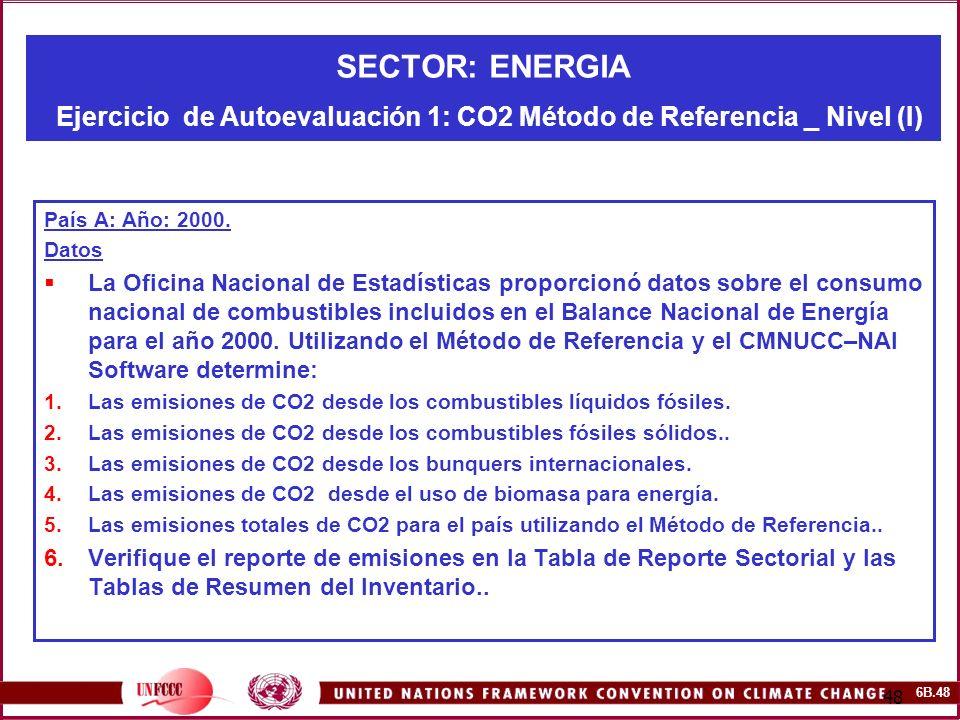 SECTOR: ENERGIA Ejercicio de Autoevaluación 1: CO2 Método de Referencia _ Nivel (I)
