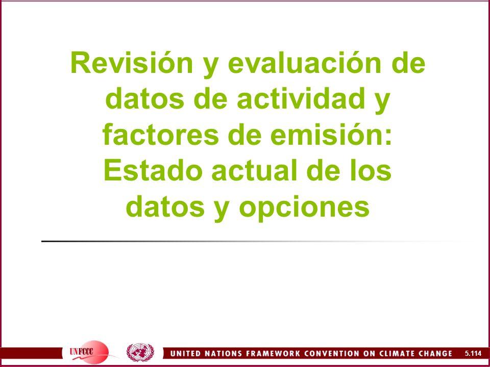Revisión y evaluación de datos de actividad y factores de emisión: Estado actual de los datos y opciones
