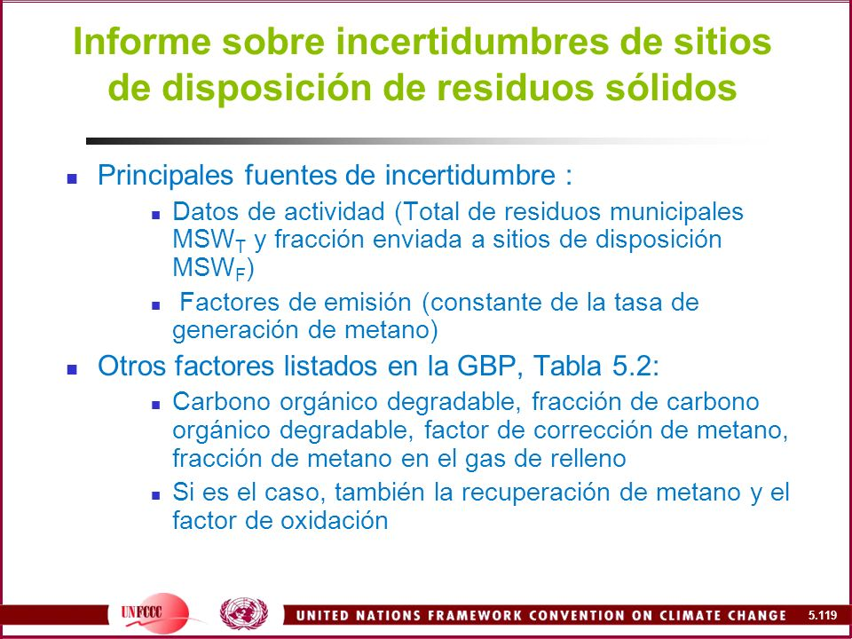 Informe sobre incertidumbres de sitios de disposición de residuos sólidos
