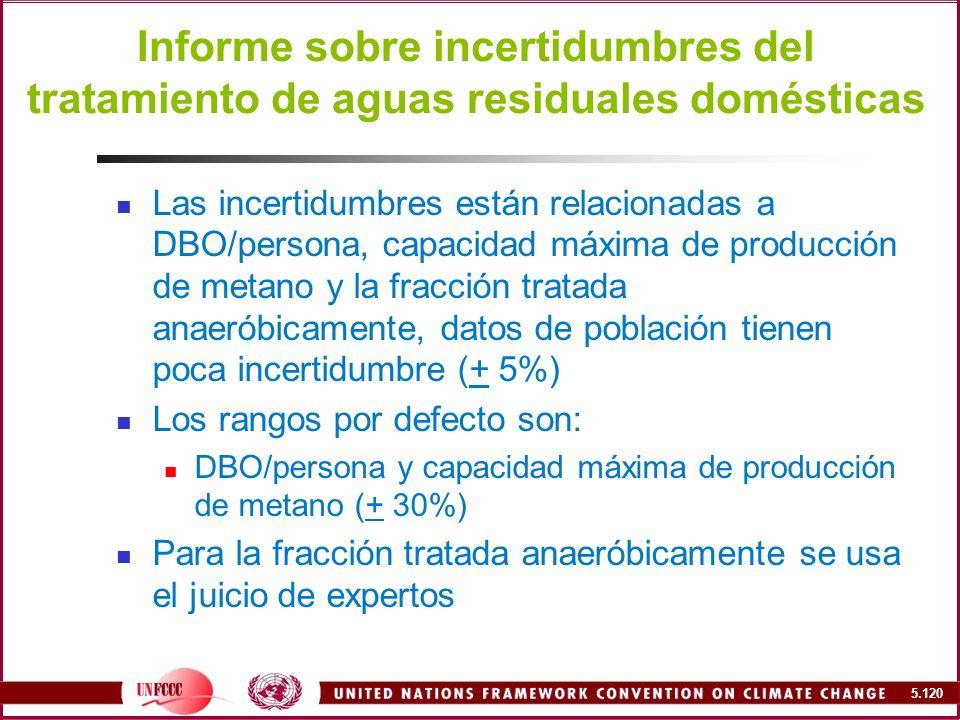 Informe sobre incertidumbres del tratamiento de aguas residuales domésticas