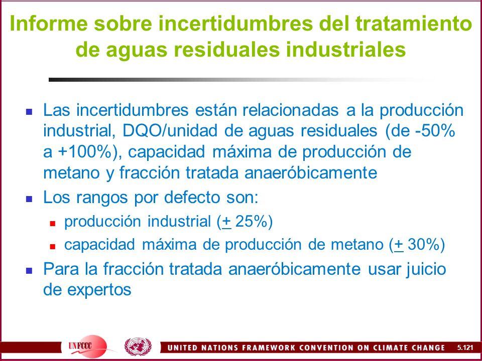 Informe sobre incertidumbres del tratamiento de aguas residuales industriales