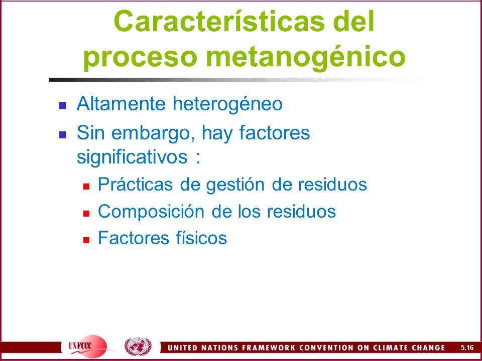 Características del proceso metanogénico