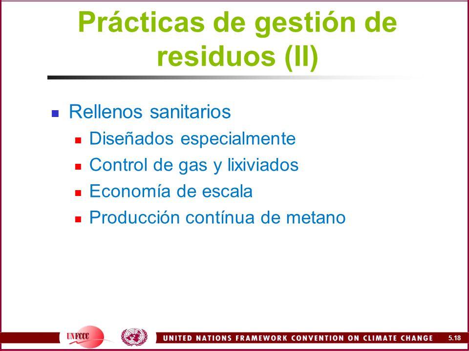 Prácticas de gestión de residuos (II)