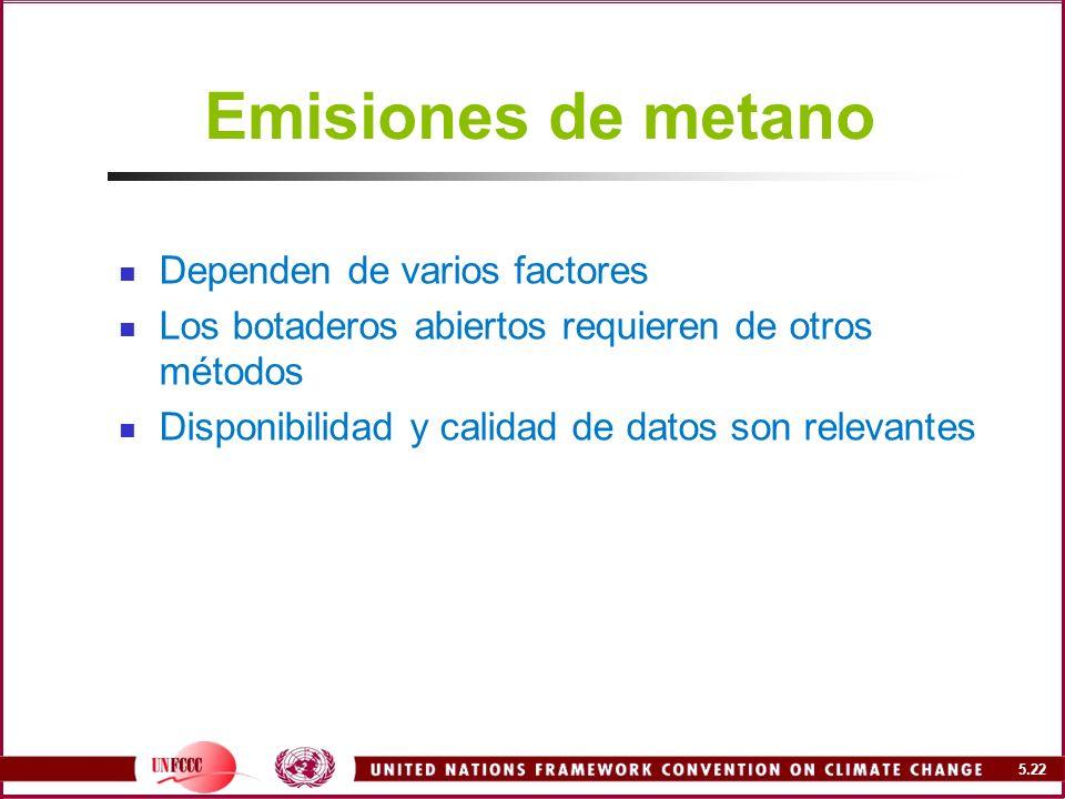 Emisiones de metano Dependen de varios factores