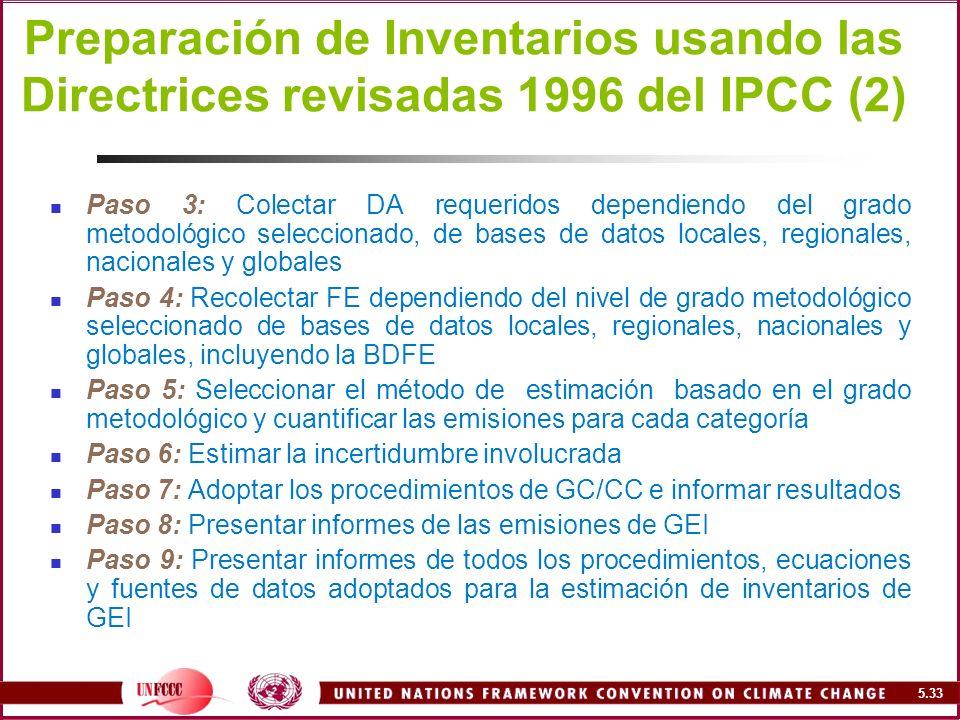 Preparación de Inventarios usando las Directrices revisadas 1996 del IPCC (2)