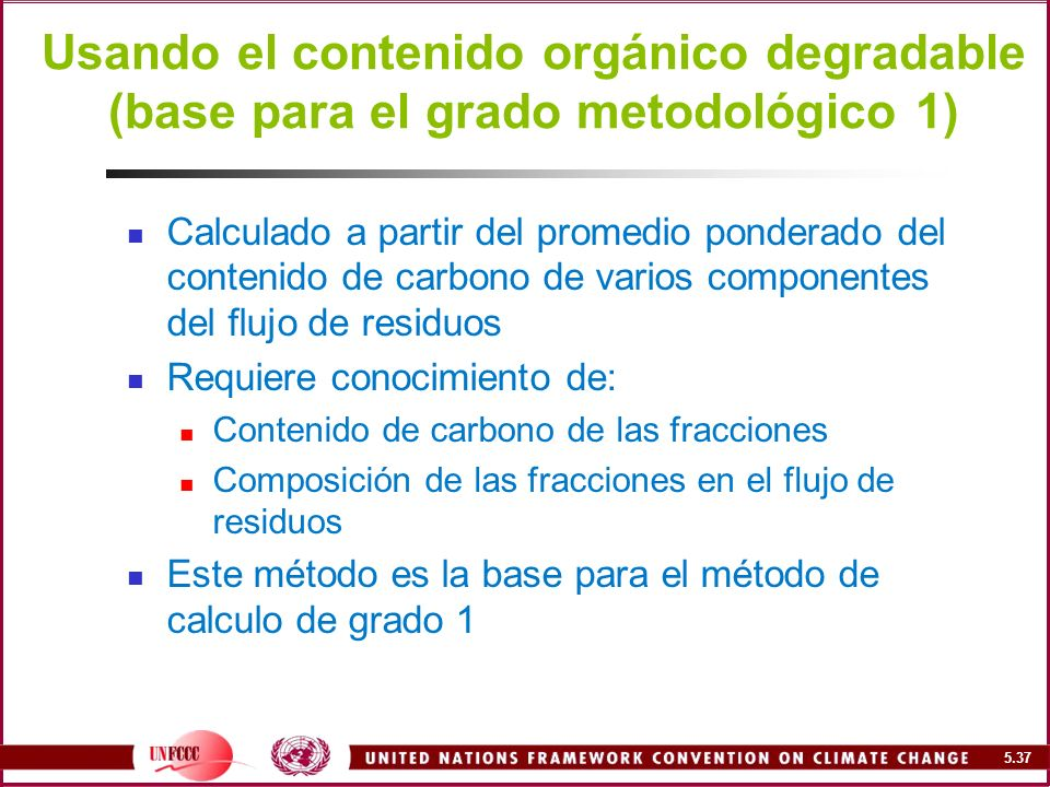 Usando el contenido orgánico degradable (base para el grado metodológico 1)