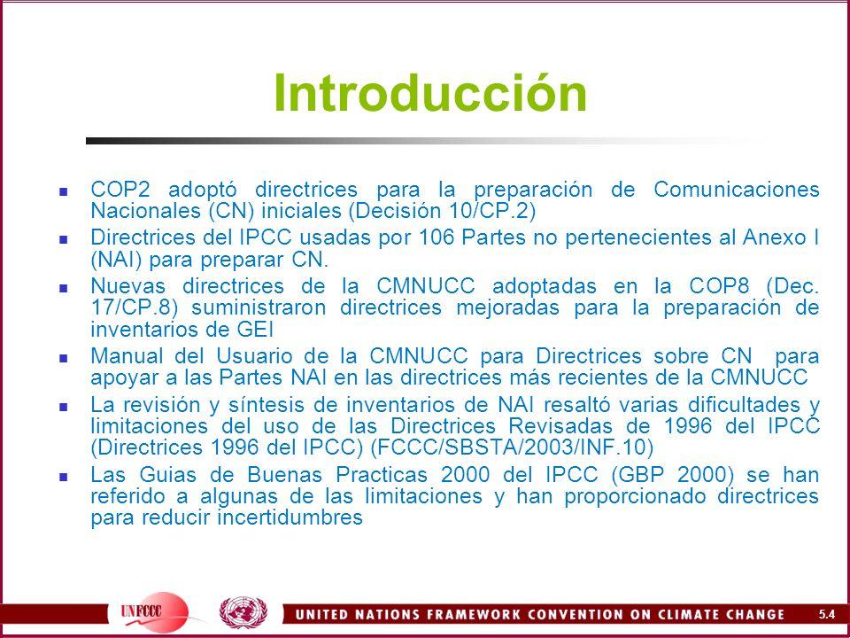 Introducción COP2 adoptó directrices para la preparación de Comunicaciones Nacionales (CN) iniciales (Decisión 10/CP.2)